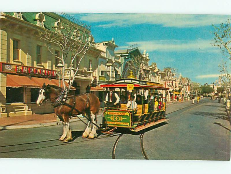 Vintage Postcard Disneyland Horse Drawn Street Car # 1028