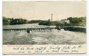 Rum River Dam Anoka Minnesota 1908 postcard