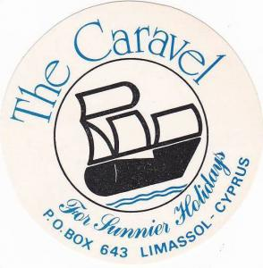 CYPRUS LIMASSOL CARAVEL HOTEL VINTAGE LUGGAGE LABEL