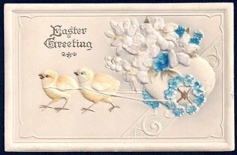 Easter Greetings Chicks Pulling an Egg used c1920