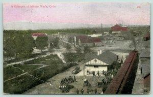 Monte Vista Colorado~Birdseye View~RR Depot in Foreground~Main Street~1911