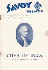 Clive Of India Gillian Lind London 1930s Military Theatre Programme
