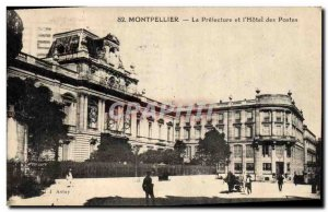 Old Postcard The Prefecture Montpellier and hotel Post