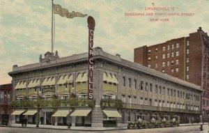 NEW YORK CITY , 1900-10s ; CHURCHILL'S Restaurant, Broadway & 49th