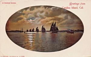 CATALINA ISLAND CA~GREETINGS FROM-MARINE SCENE-SAILBOATS MOONLIGHT POSTCARD 1905