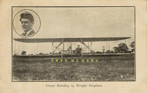 1911 Chicago IL PC: Pioneer Aviator Oscar Brindley & Wright 'Bioplane' - Rare!
