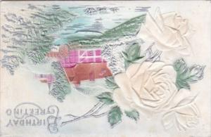 Birthday Greetings White Roses and Water Mill 1910