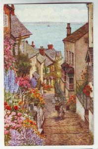 P178 JLs water color postcard down long clovelly donkey uk