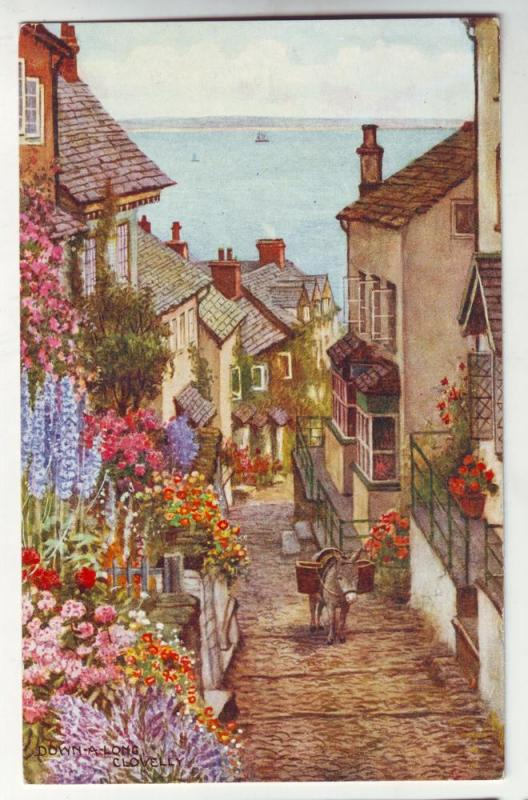 P178 JLs water color postcard down long clovelly donkey uk