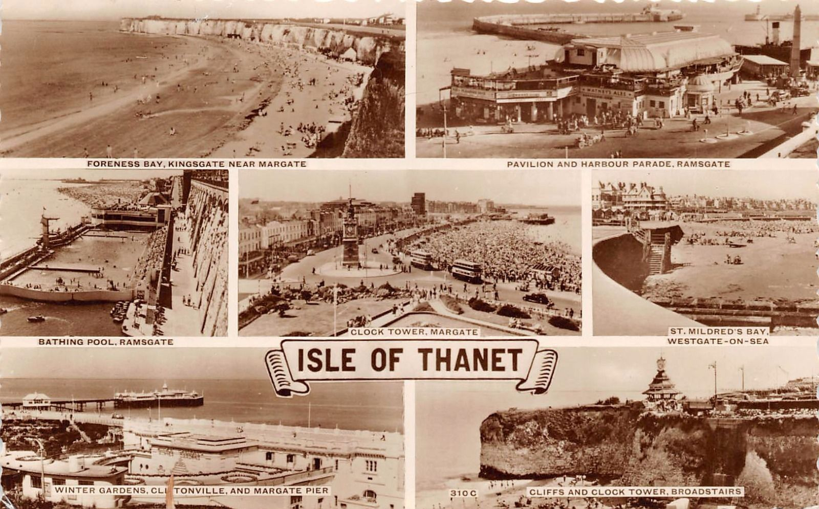 isle of thanet kent uk multi image photo postcard bay harbour pool