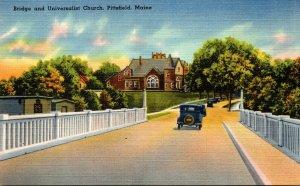 Maine Pittsfield Bridge and Universalist Church