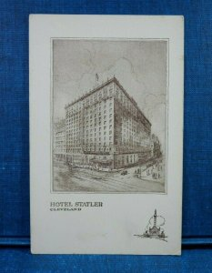 Hotel Statler, Cleveland, Ohio Old Cars and Pedestrians Antique Postcard
