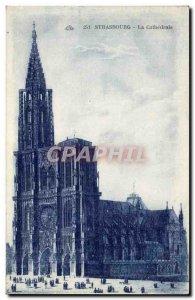 Old Postcard Strasbourg cathedral