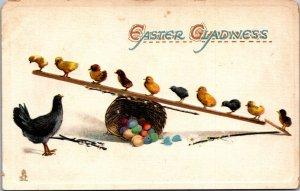 TUCKS Easter baby chicks on seesaw eggs basket pussy willows daisy black henÊ
