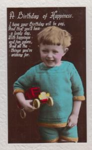 Child With Red Toy Truck Lorry Antique Happy Birthday Old RPC Postcard