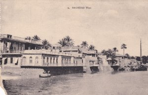 Baghdad West Boats in River Iraq Antique Postcard