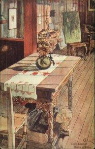 Carl Larsson - Little Girl Under Table Trap Door? c1910 Postcard