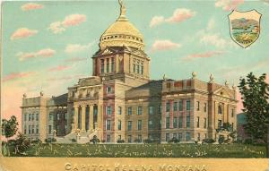 Helena Montana~Capitol~State Shield~1910 Gold Embossed Series~Postcard