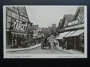 Worcestershire DROITWICH High Street shows GEORGE WYTHES SHOP c1905 Postcard