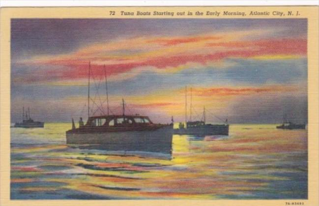 New Jersey Atlantic City Tuna Boats Starting Out In The Early Morning 1938 Cu...