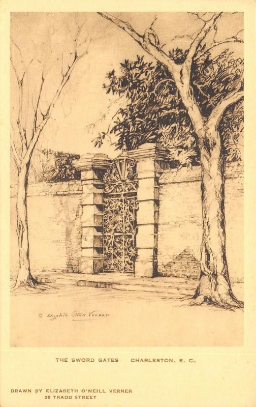 Charleston SC~The Sword Gates~Elizabeth O'Neill Verner Series~Artist c1942 PC