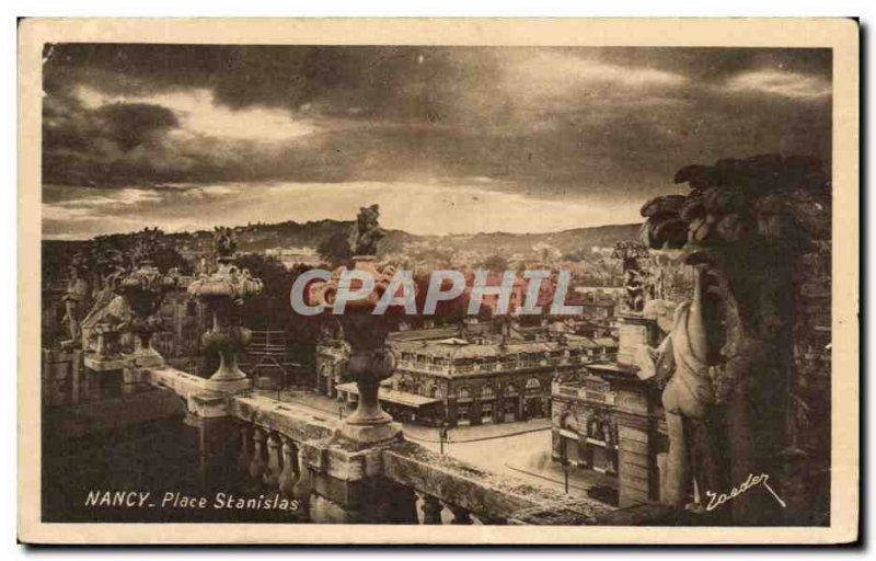 Old Postcard Nancy Place Stanislas Coquette View from the lerraese the Grand ...