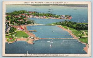 Postcard MA Salem JCB Smith Memorial Swimming Pool Airview Vintage Linen N15