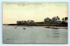 Postcard NY Fishers Island Munnatawket Hotel & Cottages View Boat Landing R69