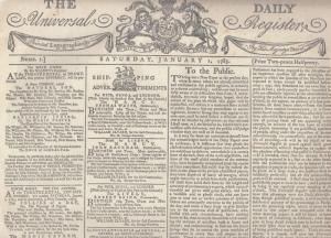 The Times Issue One 1785 Medieval Antique Fascimile London Newspaper