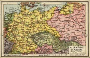 Germany, Poland, Jeheber Map with Country Info (1910s)