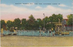 HUTCHINSON KANSAS - MUNICIPAL SWIMMING POOL / CAREY PARK 1930s - GONE