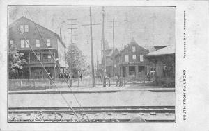 Drug Store Train Station View South from Railroad Vintage Postcard JD228143