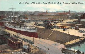 Brooklyn New York Navy Yard USS Indiana in Dry Dock Postcard JE229134