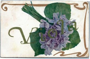 postcard Greetings - name Viola - in gold with bouquet of violets 1910