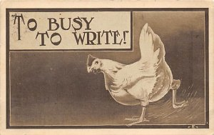 Chicken Post Card To Busy to Write Postal Used Unknown