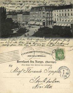 norway norge, CHRISTIANIA, Carl Johans Gade, Grand Hotel (1906) Postcard