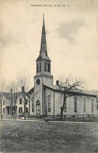 Avoca New York~Folk Victorian Home~Methodist Church~Stained Glass Windows 1911