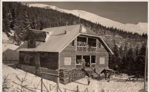 Photo postcard dated 1936 cottage rest house winter seasonal landscape