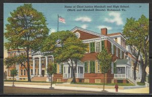 Virginia, Richmond - Home Of Chief Justice Marshall & High School - [VA-286]