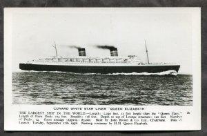 5225 - Cunard Steamer QUEEN ELIZABETH 1950s White Star Line. Real Photo Postcard