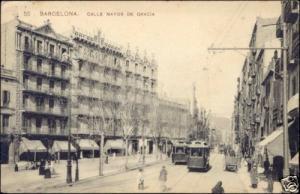 spain, BARCELONA, Calle Mayor de Gracia, TRAM (1910)