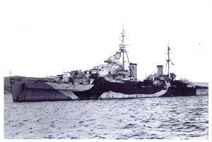 Postcard British Light Cruiser HMS Spartan off Barrow In Furness August 1943 7O