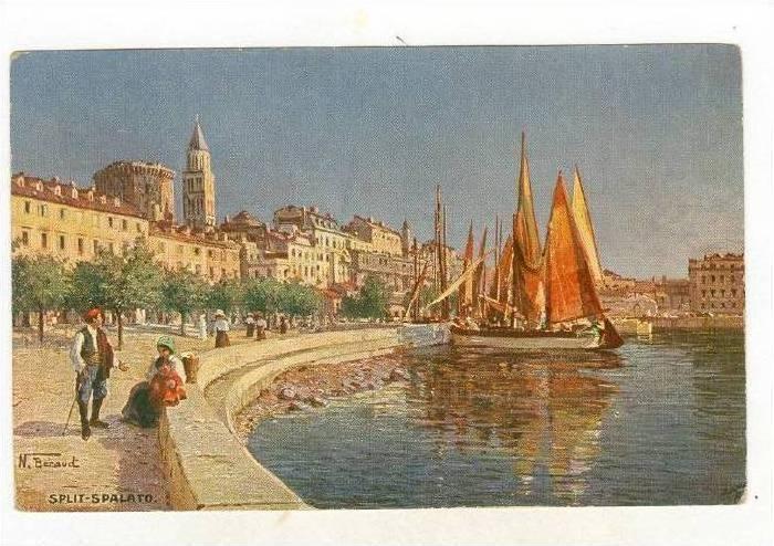Sailboat, Scene In Split-Spalato, Croatia, 1900-1910s