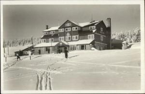 Skiing Ski Lodge Krkonose Kolinska Bouda Real Photo Postcard