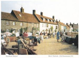 Burnham Village 1980s Market Day Norfolk Postcard