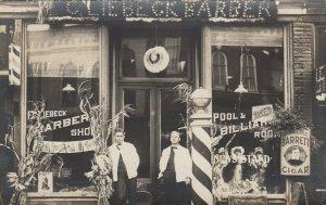 RP: Princeton , Illinois , 1900-10s ; Barber, Pool & Billiard Room storefront