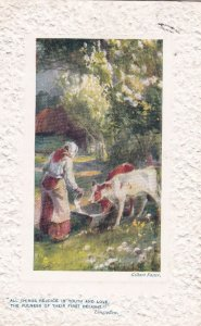 Woman & cows , 00-10s ; TUCK 9717
