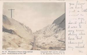 Fairdale ND Railroad Tracks Covered~A Little Snow (Mountain)~Barsness RPPC 1907