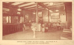 Buffalo New York~McLeod Hotel Office & Lobby~Chairs-Pictures on Wall-Desk~c1920s