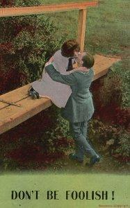 ?Vintage Postcard 1916 Don't Be Foolish Couple Lovers Kissing Scene Outdoor Art